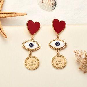 Jewelry - Retro Heart Pendant Gold Drop Earrings